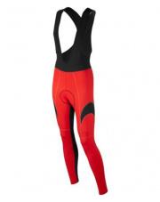 Długie czerwone spodnie rowerowe z wkładką i z szelkami Vezuvio