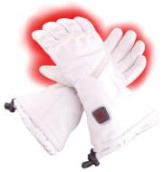 Skórzane rękawice narciarskie ogrzewane elektrycznie Glovii białe