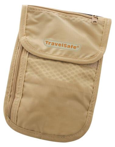 Saszetka turystyczna na szyję Travel Safe Check Out beżowa