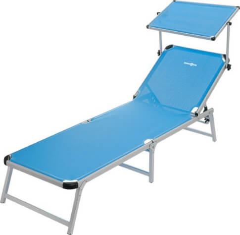 Regulowane łóżko plażowe z daszkiem przeciwsłonecznym Marbella Brunner niebieskie