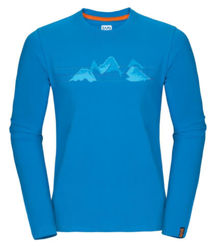 Koszulka męska Zajo Bormio T-shirt LS Blue Jewel Mountains
