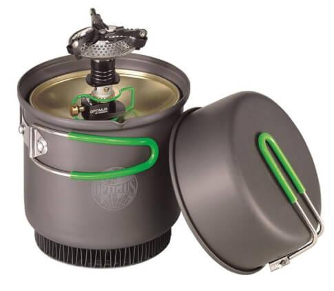 Praktyczny zestaw naczyń Terra Weekend HE Cookset + palnik Crux Lite Optimus