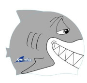 Silikonowy czepek dla dzieci rekin SwimFin szary