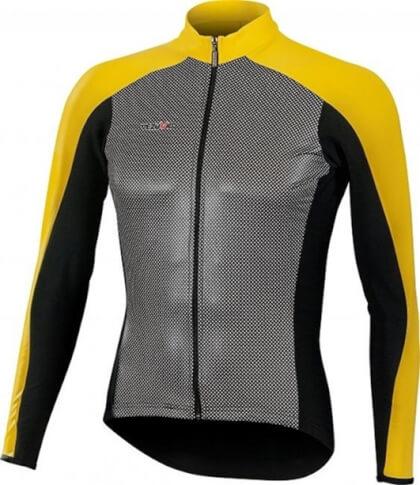 Ciepła bluza kolarska SuperRoubaix z wiatroodpornym przodem Gamex Vezuvio żółta