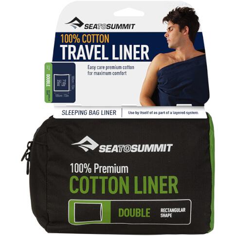 Prześcieradło do śpiwora Premium Cotton Rectangular Standard zielone Sea to Summit