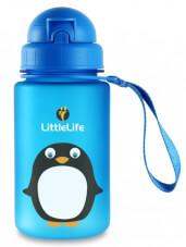 Bidon dziecięcy ze słomką 400 ml niebieski pingwin LittleLife