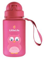 Bidon dziecięcy ze słomką 400 ml różowa sowa LittleLife