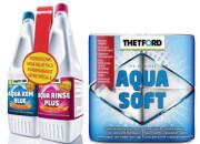 Zestaw płynów Aqua Kem Blue 1,5L + Aqua Rinse Plus 1.5L + Papier Toaletowy Aqua Soft 4 Thetford