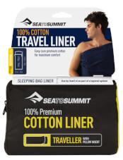 Prześcieradło do śpiwora Premium Cotton Traveller with Pillow granatowe Sea to Summit