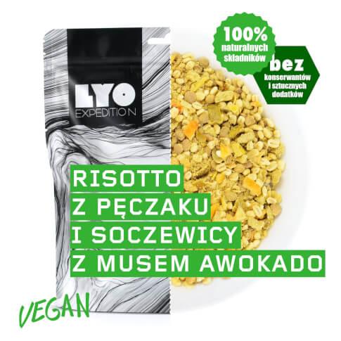 Liofilizowane jedzenie wegańskie 500 g Risotto z pęczaku i soczewicy z musem awokado LYO FOOD duża porcja