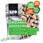 Liofilizowana owsianka kokosowa z jagodami, figami i nasionami chia 1 porcja 300g LYO Food