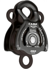 Bloczek wspinaczkowy CAMP Janus z łożyskiem ślizgowym i z dwoma krążkami czarny
