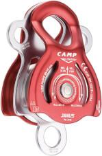 Bloczek wspinaczkowy CAMP Janus z łożyskiem ślizgowym i z dwoma krążkami czerwony