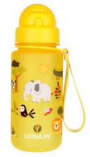 Bidon dziecięcy ze słomką 400 ml żółte safari LittleLife