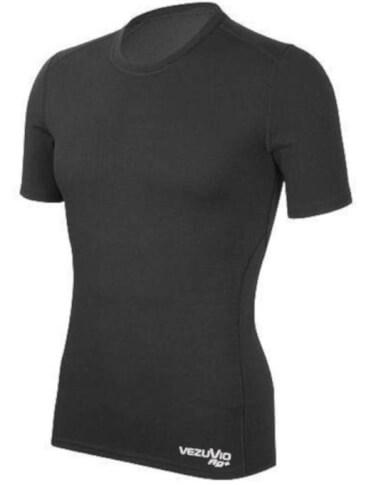 Koszulka męska z krótkim rękawem medium Q-Skin czarna Vezuvio