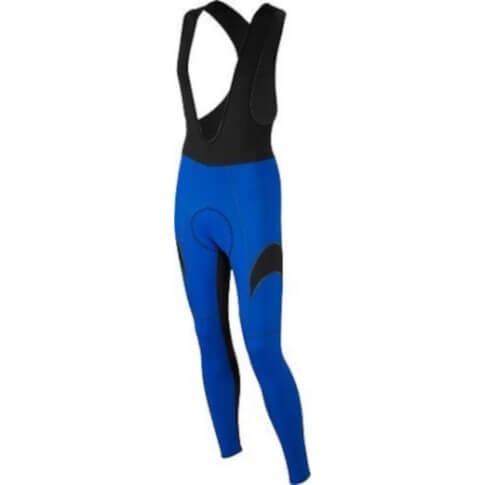 Długie niebieskie spodnie rowerowe z wkładką i z szelkami Vezuvio