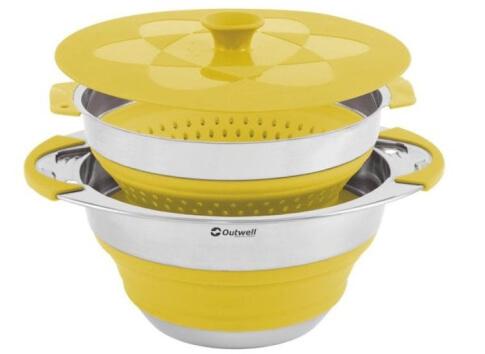 Składana miska z pokrywką i cedzakiem 4,5 l Collaps Pot With Colander Lid Outwell żółta