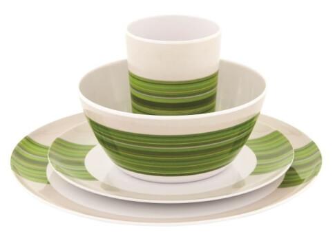 Zestaw obiadowy dla 4 osób Blossom Picnic Set Pogonia Green Outwell