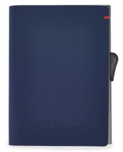 Portfel antykradzieżowy z wysuwanymi kartami Pacsafe RFIDsafe TEC Slider granatowy/czerwony