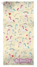 Antybakteryjny ręcznik szybkoschnący XL jednorożec żółty Dr Bacty