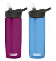 Zestaw dwóch butelek turystycznych Eddy + 600 ml Camelbak niebieska i fioletowa