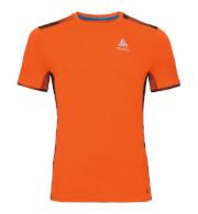 Techniczna koszulka Odlo dla biegaczy męska Top Crew neck s/s Omnius Print F-Dry pomarańczowa
