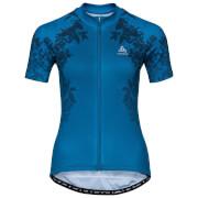 Koszulka techniczna Stand Up Element Print Odlo niebieska z motywem kwiatowym