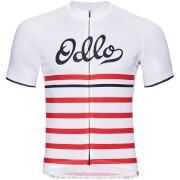 Koszulka rowerowa Stand Up collar full zip Fujin Print Odlo biała w czerwone pasy
