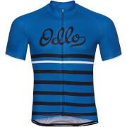 Koszulka techniczna Stand Up collar full zip Fujin Print Odlo niebieska w czarne pasy