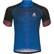 Koszulka techniczna Stand Up collar full zip Fujin Print Odlo niebieska