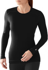 Bluzka 100% merino W'S Merino 250 Baselayer Crew Black Smartwool czarna