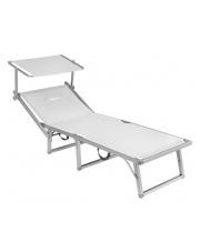 Rozkładane łóżko plażowe z daszkiem Lido Fold Up białe Brunner
