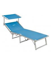 Rozkładane łóżko plażowe z daszkiem Lido Fold Up niebieskie Brunner