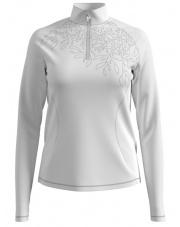 Damska bluza z golfem Midlayer 1/2 zip Glade Odlo biała z motywem roślinnym