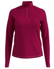 Damska bluza z golfem Midlayer 1/2 zip Glade Odlo różowa z motywem roślinnym