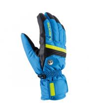 Klasyczne męskie rękawice Livio Viking niebieskie z żółtym