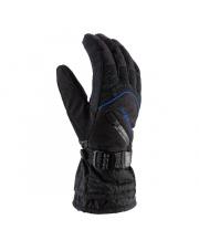 Męskie rękawice na narty Tirol Viking czarne z niebieskim