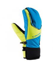 Młodzieżowe rękawice narciarskie Fin Lobster Viking niebiesko żółte