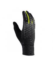 Rękawiczki sportowe dotykowe Orton Viking czarne z neonowym