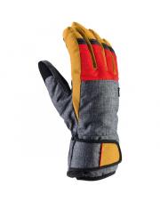 Proste rękawice narciarskie Trevali Viking szaro czerwono miodowe