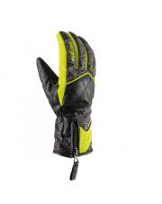 Damskie rękawice wzmocnione skórą Atria Viking czarno limonkowe