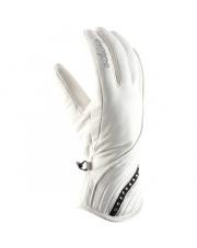 Rękawiczki skórzane damskie Diamante Viking białe