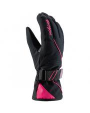 Rękawice narciarskie z sofshellu Tesera Viking czarno różowe