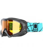 Gogle narciarskie o średniej wielkości oprawce Cevron Uvex szaro błękitne