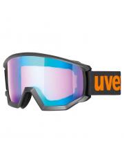 Kanciaste gogle narciarskie Athletic CV Uvex czarne z pomarańczowym logo