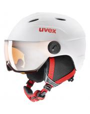 Dziecięcy kask narciarski z wizjerem Junior Visor Pro biały