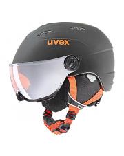 Dziecięcy kask narciarski z wizjerem Junior Visor Pro czarny Uvex