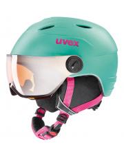 Dziecięcy kask narciarski z wizjerem Junior Visor Pro miętowy