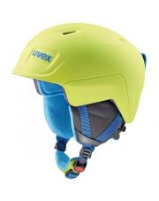 Juniorski kask narciarski Manic Pro Uvex limonkowo niebieski