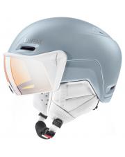 Kask sportowy Inmould z wizjerem Hlmt 700 Visor Uvex biało srebrny